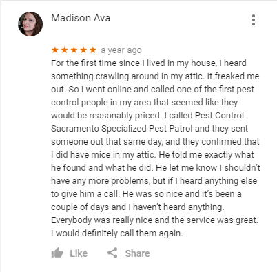 Rodent Control Services Review by a customer who gave a great 5 star review of Specialized Pest Patrol